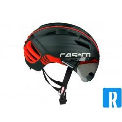 Fietshelm Casco SPEEDster Plus zwart-rood met visier
